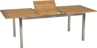 """Gartentisch """"Lorenz"""" - mit Teaktischplatte, Edelstahlgestell, in edelstahl / teak – Bild 3"""