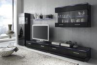 Wohnwand Anbauwand schwarz, Fronten schwarz hochglanz, optional LED-Beleuchtung 001