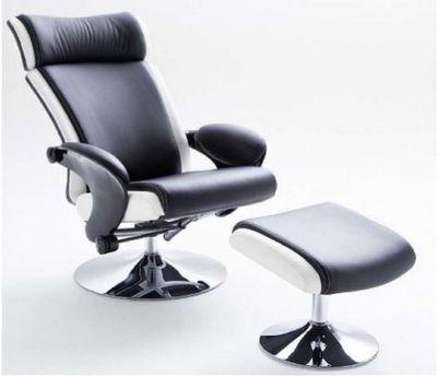 """Relax Sessel """"Anni"""" - inkl. Hocker - in schwarz / rot oder in schwarz / weiss – Bild 2"""