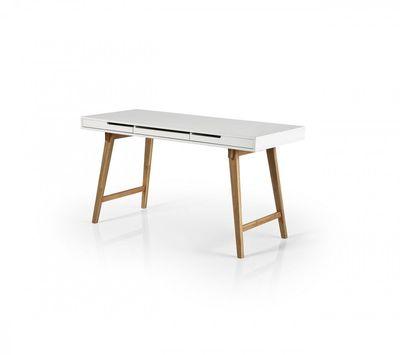 """Schreibtisch """"Sariah II"""" - matt weiß lackiert - Beine in eiche massiv – Bild 2"""