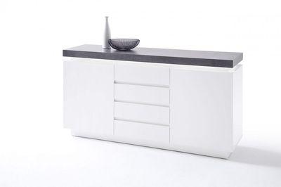 "Sideboard ""Sharun"" - matt weiß lackiert - Beton Dekor – Bild 1"