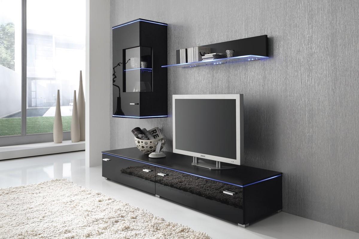 wohnwand anbauwand schwarz fronten schwarz hochglanz optional led beleuchtung m bel wohnw nde. Black Bedroom Furniture Sets. Home Design Ideas