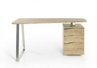 """Schreibtisch """"Rito"""" - in Asteiche / Edelstahl Optik – Bild 2"""