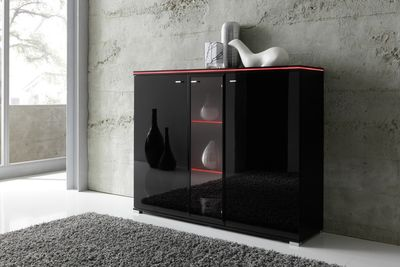 Highboard NEW York in Schwarz, Fronten Hochglanz optional LED-Beleuchtung