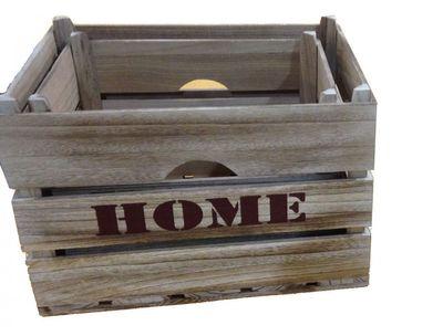 "3er Set Holzboxen ""Börl"" - aus Paulowina Holz - in grau"