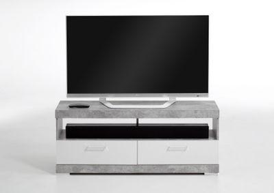 "TV-/HiFi-Lowboard ""Rana I""- in Beton/Weiß – Bild 2"