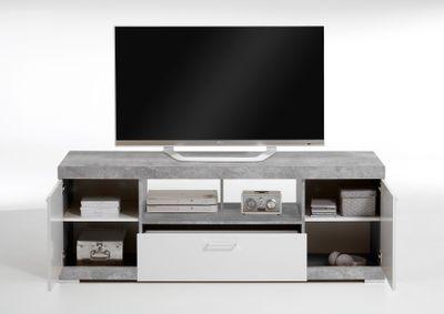 "TV-/HiFi-Lowboard ""Rino I""- in Beton/Weiß – Bild 3"