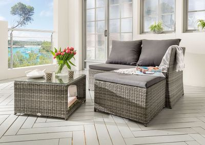 "Loungeset ""St. Tropez I "" - Geflecht in grau / Polster in anthrazit – Bild 1"