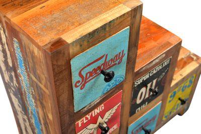"Kommode ""Speedys VI"" - recyceltes Altholz - natur + bunt lackiert – Bild 4"