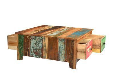 "Couchtisch ""Speedys"" - recyceltes Altholz - natur + bunt lackiert – Bild 4"