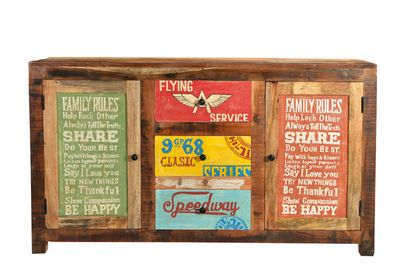 "Sideboard ""Speedys"" - recyceltes Altholz - natur + bunt lackiert – Bild 1"