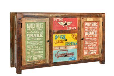 "Sideboard ""Speedys"" - recyceltes Altholz - natur + bunt lackiert – Bild 2"