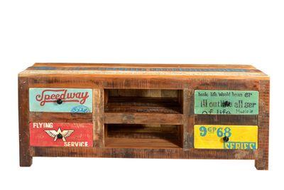 "Lowboard ""Speedys"" - recyceltes Altholz - natur + bunt lackiert – Bild 1"