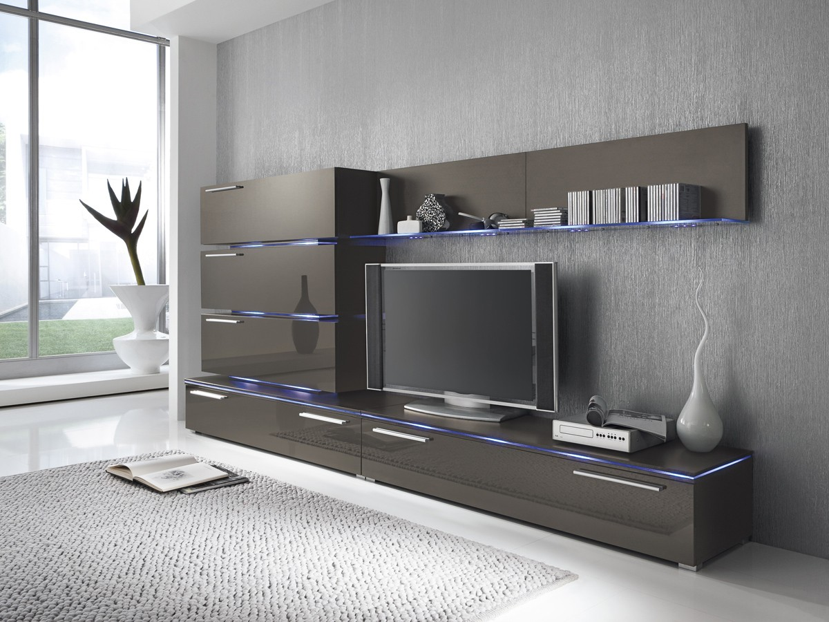 wohnwand anbauwand grau lavagrau fronten hochglanz optional led beleuchtung m bel wohnw nde. Black Bedroom Furniture Sets. Home Design Ideas