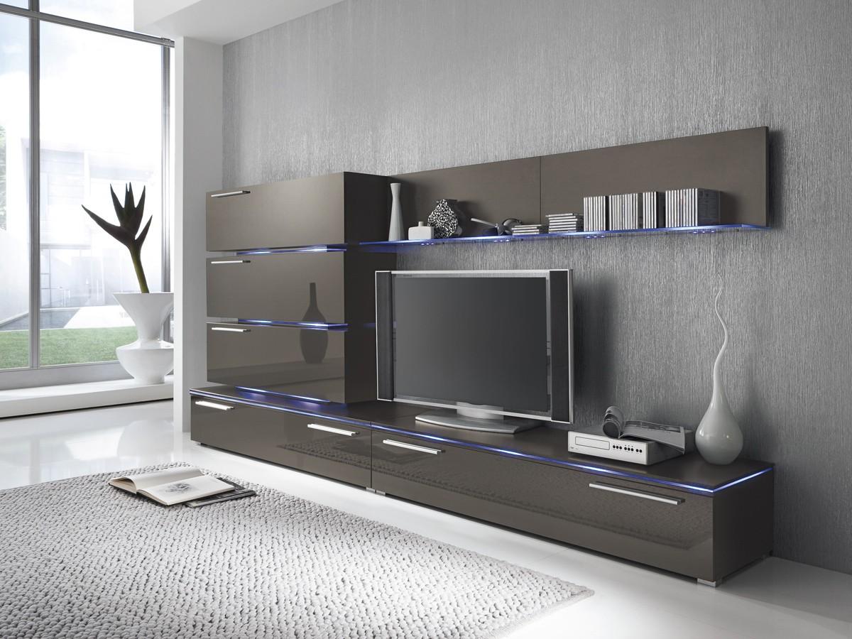 Hochwertig Wohnwand Anbauwand Grau Lavagrau, Fronten Hochglanz, Optional LED  Beleuchtung