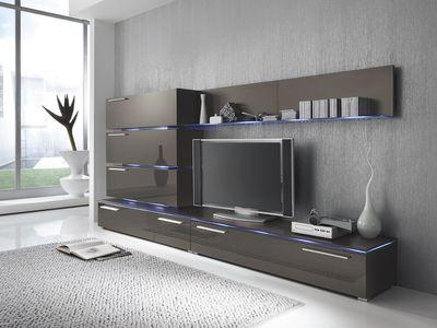 Wohnwand Anbauwand grau lavagrau, Fronten hochglanz, optional LED-Beleuchtung – Bild 1