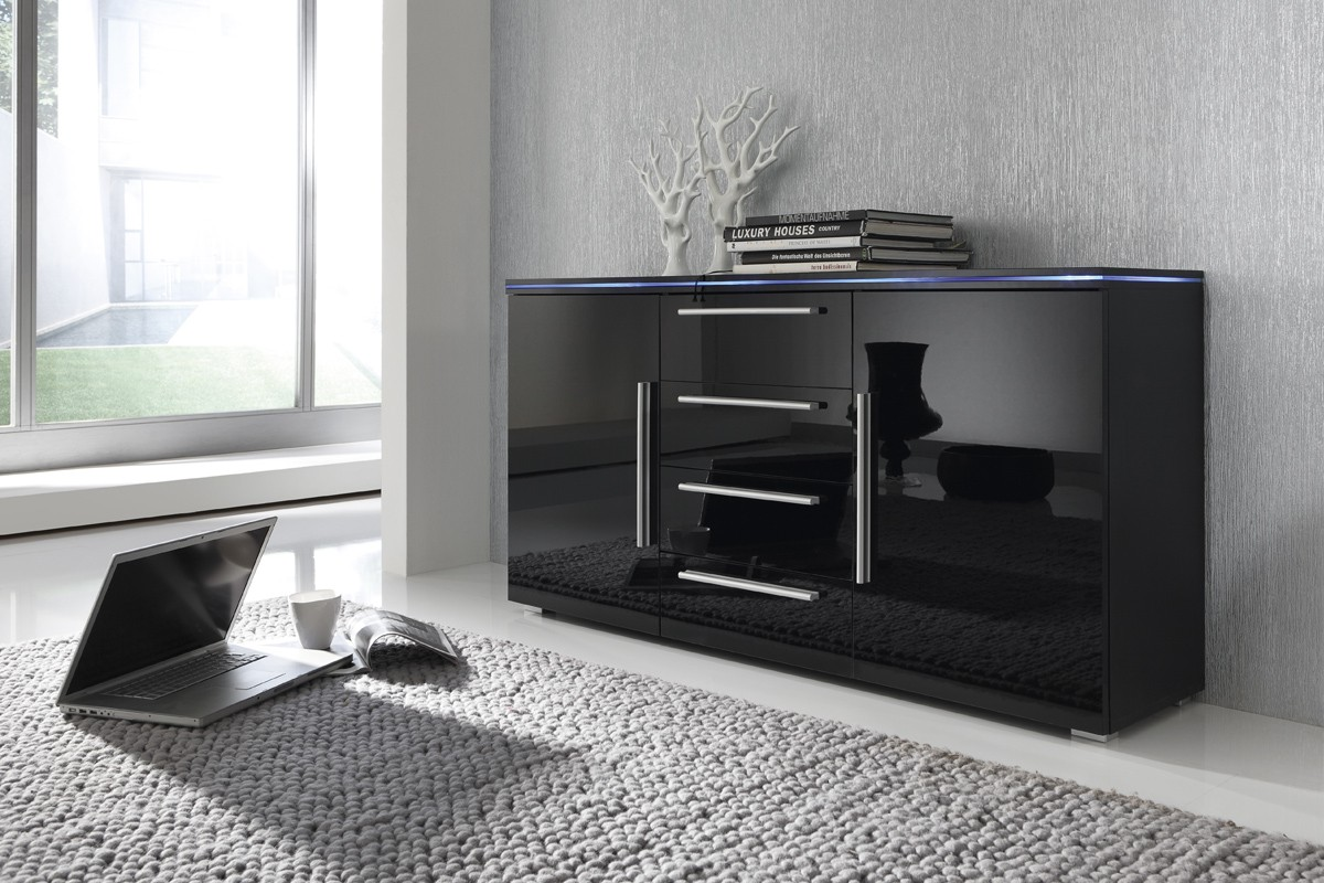 sideboard anrichte kommode schwarz fronten hochglanz optional led beleuchtung m bel side. Black Bedroom Furniture Sets. Home Design Ideas