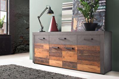 "Sideboard ""Anjoka"" - in Graphit Grau Matera-Old Wood NB"