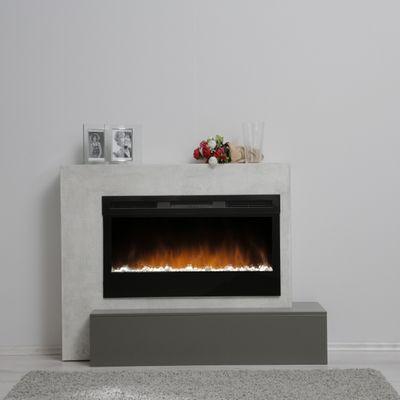 "Elektrokamin ""Calia V"" - in Betonstruktur betongrau/schwarzgrau lackiert – Bild 1"