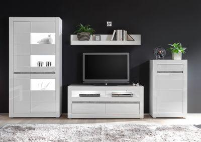 """Kommode """"Siste V"""" - in Weiß Hochglanz mit Applikation Beton Atelier NB – Bild 4"""