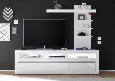 "Lowboard ""Siste VIII"" - in Weiß Hochglanz mit Applikation Beton Atelier NB – Bild 4"