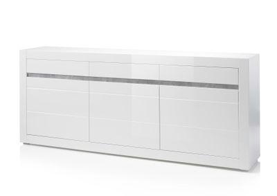 "Sideboard ""Siste XI"" - in Weiß Hochglanz mit Applikation Beton Atelier NB – Bild 3"