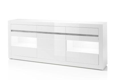 "Sideboard ""Siste XII"" - in Weiß Hochglanz mit Applikation Beton Atelier NB – Bild 3"