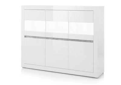 "Highboard ""Siste XIII - in Weiß Hochglanz mit Applikation Beton Atelier NB – Bild 3"