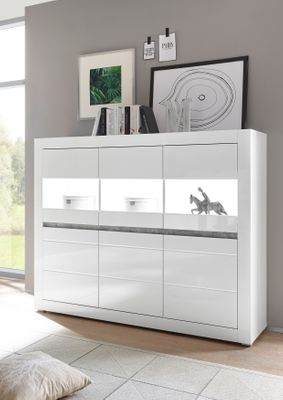 "Highboard ""Siste XIII - in Weiß Hochglanz mit Applikation Beton Atelier NB – Bild 1"