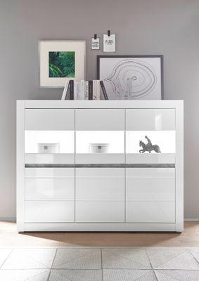 "Highboard ""Siste XIII - in Weiß Hochglanz mit Applikation Beton Atelier NB – Bild 2"