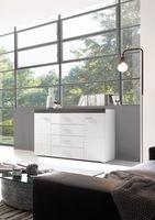 """Sideboard """"Modo 1 -  in Weiß Hochglanz mit Applikation Dark Concret"""