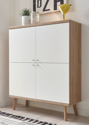 "Highboard ""Jost"" - in Weiß matt / Eiche Riviera NB – Bild 1"