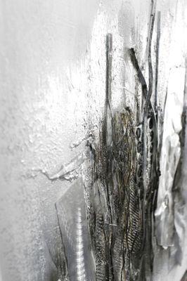 "Wandbild ""Taniko"" - in silber - 80 x 80 cm – Bild 4"