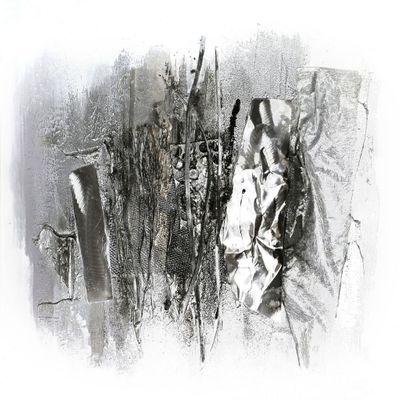 "Wandbild ""Taniko"" - in silber - 80 x 80 cm – Bild 2"