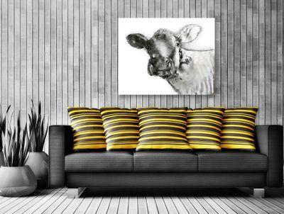 "Wandbild ""Cowdy"" - in silber - 80 x 100 cm – Bild 1"