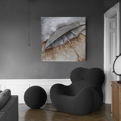 "Wandbild ""Umbrella"" - in silber - 80 x 80 cm – Bild 1"