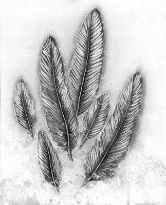 "Wandbild ""Feder"" - in silber - 80 x 100 cm – Bild 2"