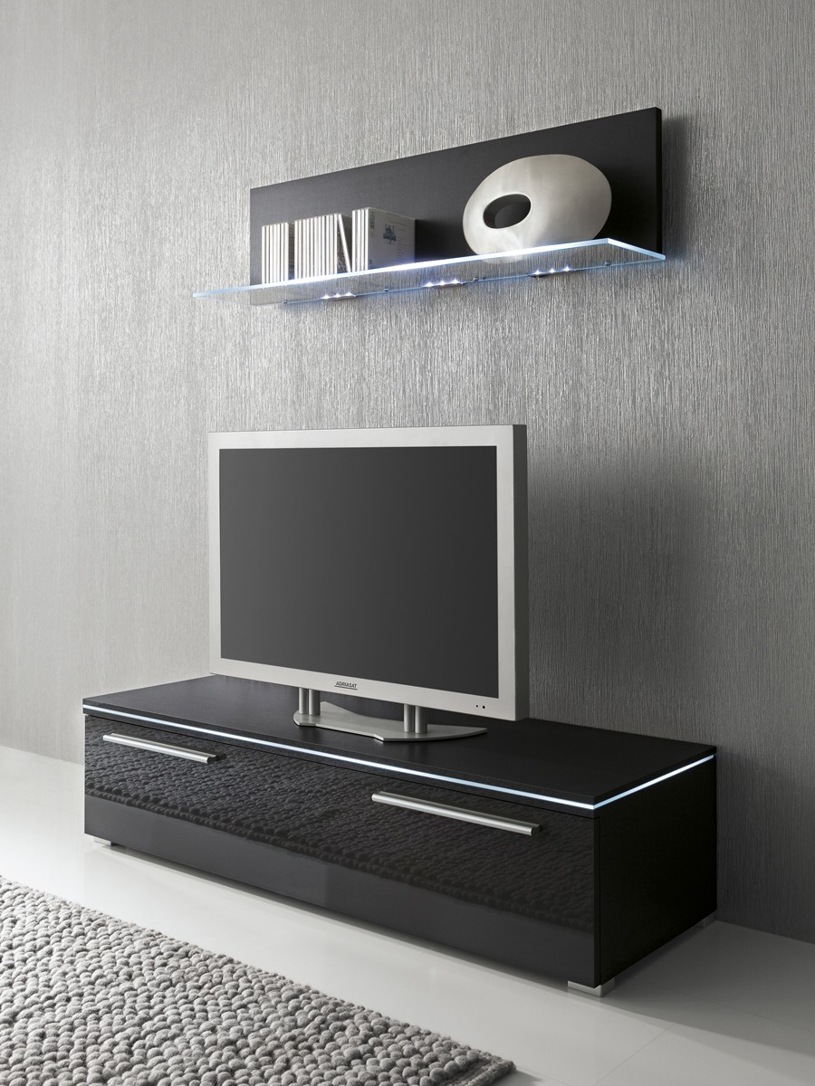 lowboard und glasbodenpaneel schwarz fronten hochglanz optional led beleuchtung m bel tv. Black Bedroom Furniture Sets. Home Design Ideas