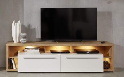 "TV-Lowboard ""Nino V"" - in weiß hglz. / Asteiche Melamin – Bild 1"