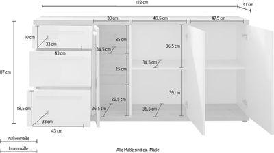 """Sideboard """"Nino IX"""" - weiß hglz. oder grau matt / Asteiche Melamin – Bild 7"""