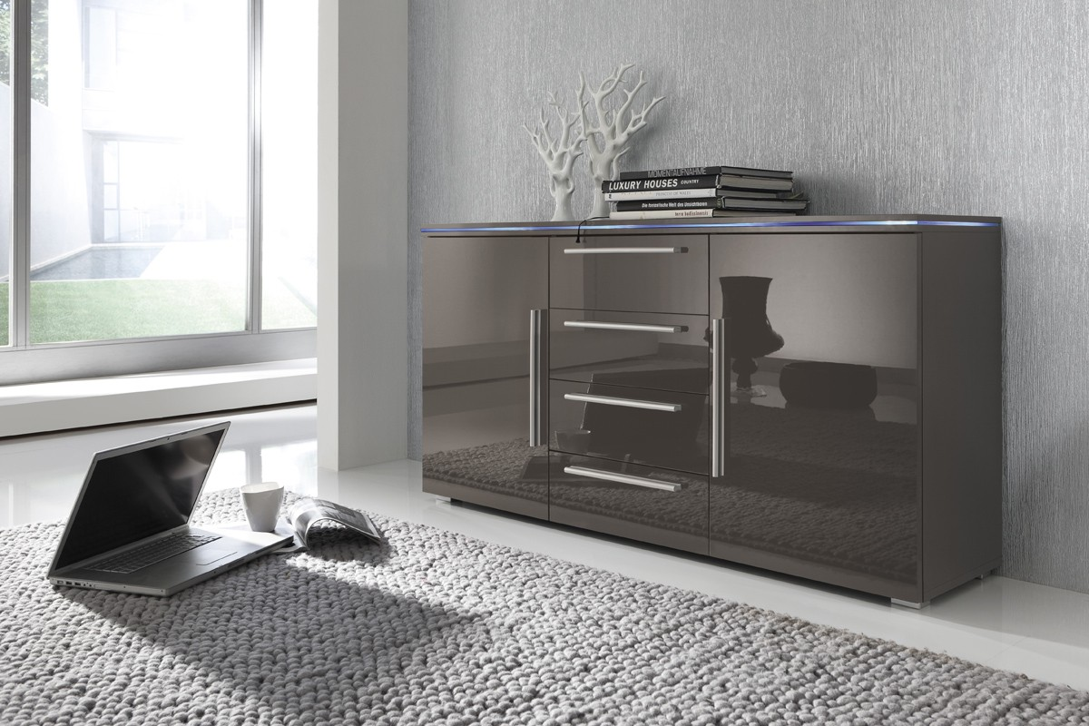 Sideboard Kommode Grau Lavagrau Fronten Hochglanz Optional Led
