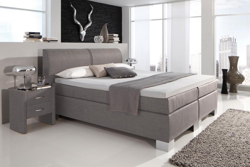 dreams4home boxspringbett manhattan kt4 grau 100 140. Black Bedroom Furniture Sets. Home Design Ideas