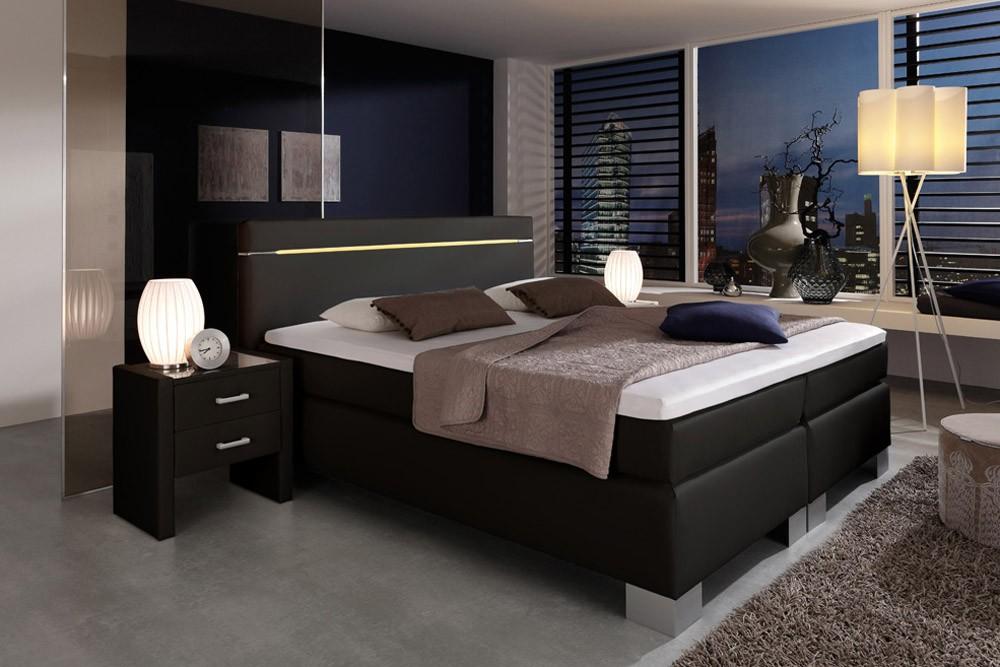 dreams4home boxspringbett flashlight kt3 schwarz 100 140. Black Bedroom Furniture Sets. Home Design Ideas