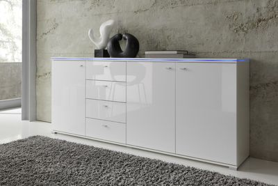 Sideboard NEW YORK in Weiß, Fronten Hochglanz optional LED-Beleuchtung