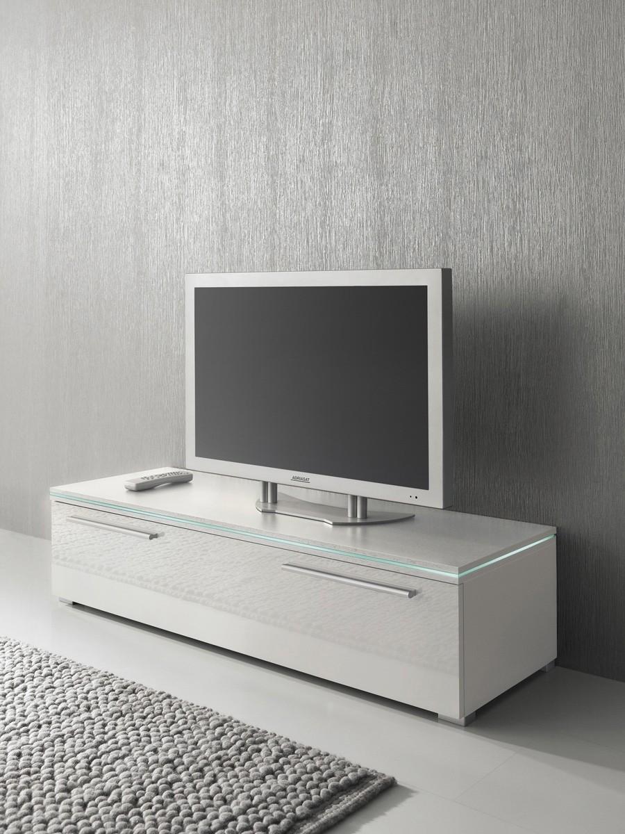 Lowboard Tv Schrank 120 Cm Weiß Fronten Hochglanz Optional Led Beleuchtung