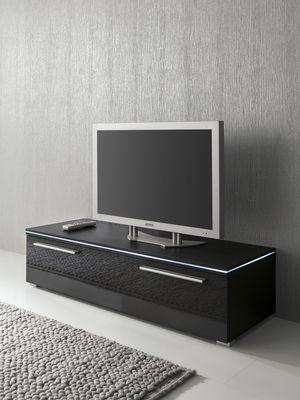 Lowboard TV-Schrank 120 cm schwarz Fronten hochglanz, optional LED-Beleuchtung – Bild 1
