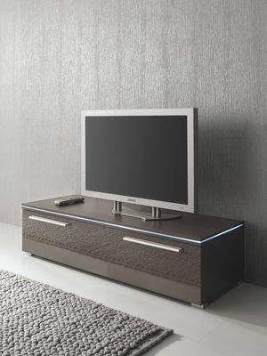 Lowboard TV-Schrank 120 cm grau lavagrau, Fronten hochglanz, optional LED-Beleuchtung – Bild 1