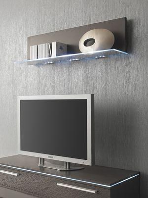 Glasbodenpaneel 120 cm Wandboard mit Glasablage grau lavagrau optional mit LED-Beleuchtung – Bild 1