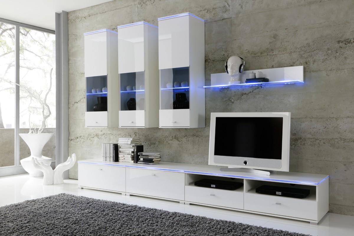 Wohnwand NEW YORK Anbauwand Weiß, Fronten Hochglanz,optional LED Beleuchtung