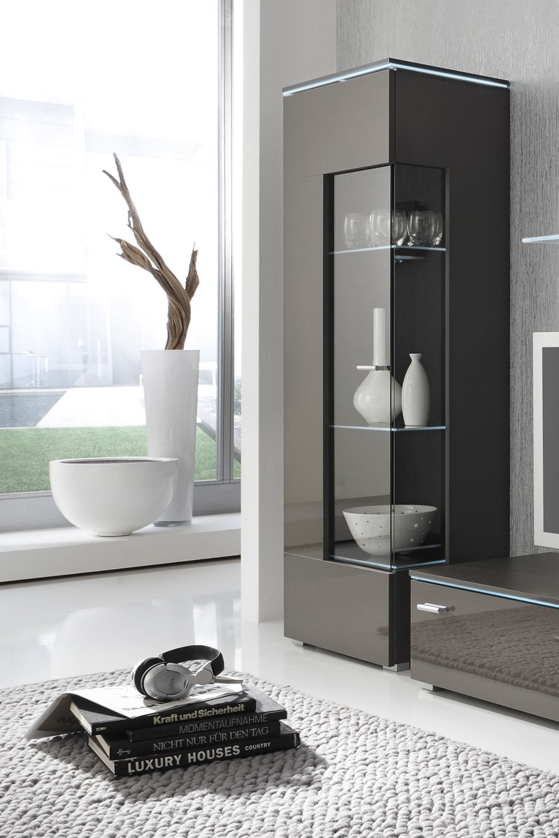 vitrine glasvitrine grau lavagrau fronten hochglanz optional led beleuchtung m bel vitrinen. Black Bedroom Furniture Sets. Home Design Ideas